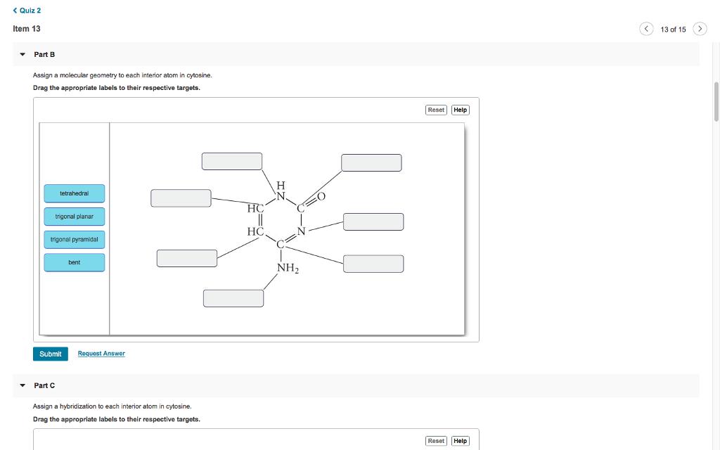 Solved Quiz 2 Tem 13 13 Of 15 Part B Assign A Molecul