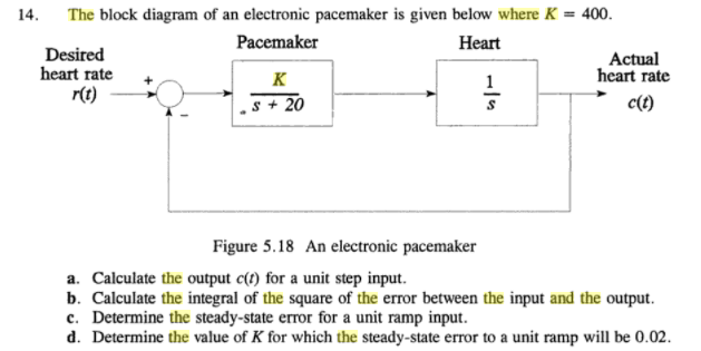 Solved: The Block Diagram Of An Electronic Pacemaker Is Gi ...