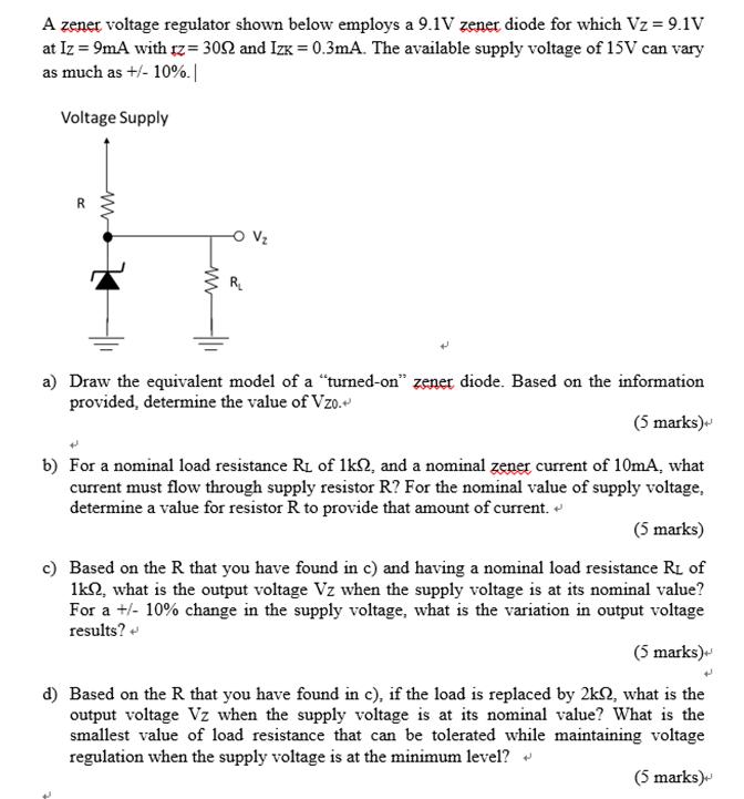 solved a zenet voltage regulator shown below employs a 9 rh chegg com