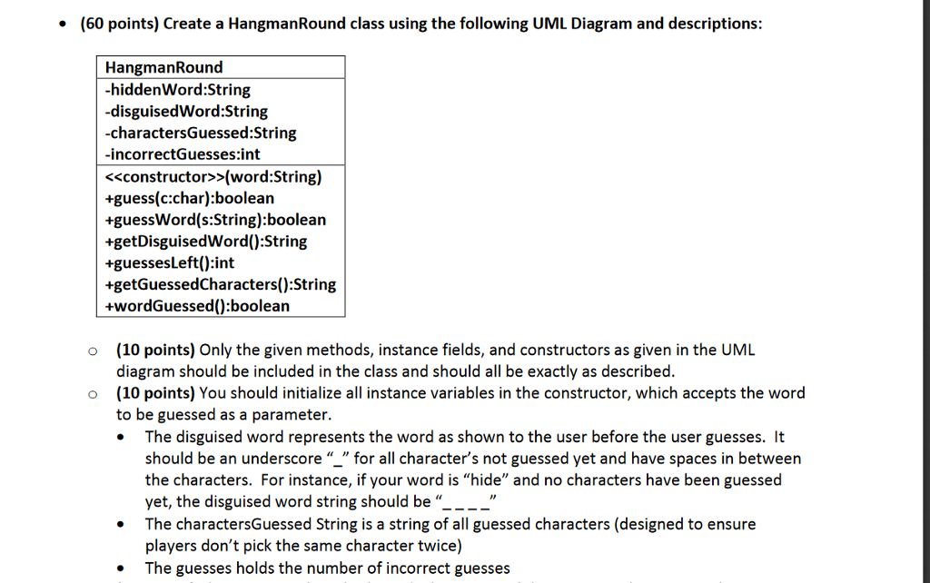 Solved 60 points create a hangmanround class using the 60 points create a hangmanround class using the following uml diagram and descriptions ccuart Gallery