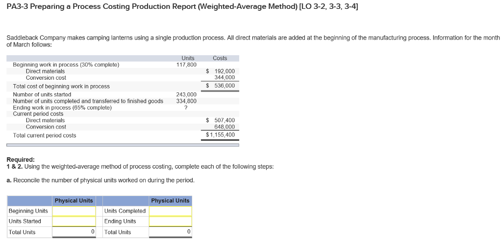 solved preparing a process costing production report weig