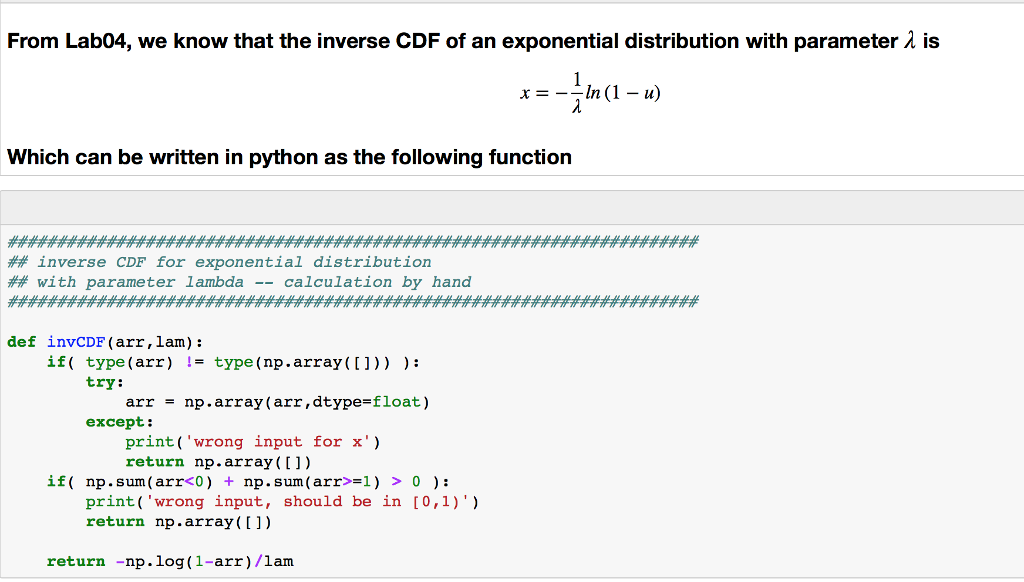 From Lab04, We Know That The Inverse CDF Of An Exp    | Chegg com