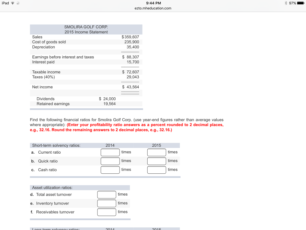 Solved: Some Recent Financial Statements For Smolira Golf ...