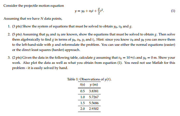 Consider The Projectile Motion Equation Y Y0 V Chegg Com For an interesting mathematical solution method. chegg