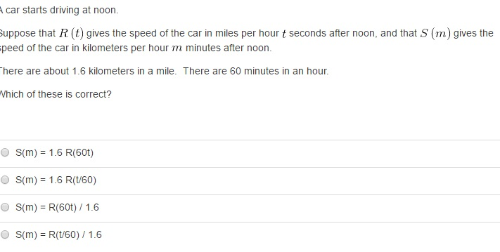 Solved: A Car Starts Driving At Noon  Suppose That R (t) G