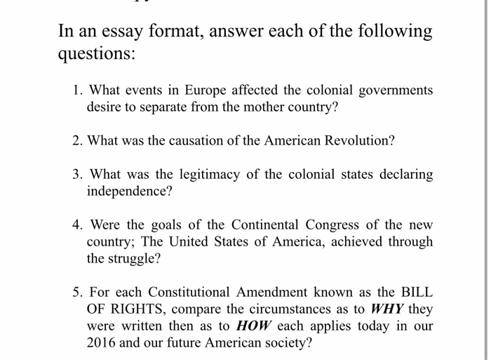 In An Essay Format Answer Each Of The Following Q  Cheggcom In An Essay Format Answer Each Of The Following Q