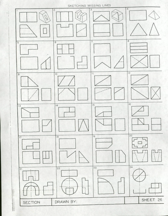 solved section sketching missing lines 22 drawn by sheet 26