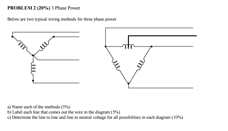 Solved: Below Are Two Typical Wiring Methods For Three Pha ... on 3 phase wiring schematic, 3 phase 3 wire diagram, refrigeration compressor three-phase diagram, 3 phase 4 plug, 3 phase kwh meter mpi, 2006 arctic cat 400 wiring diagram, 75 kva transformer wiring diagram, 208 3 phase diagram, 3 phase outlet wiring diagram, 220 3 phase wiring diagram, 3 phase to single phase wiring diagram, 3 phase panel wiring diagram, 3 phase delta with ground, 3 wire single phase wiring diagram, 208 volt single phase wiring diagram, 3 phase voltage measurement, 230 volt 3 phase wiring diagram, 3 phase wiring for dummies, 3 phase wiring chart, delta 4 wire diagram,