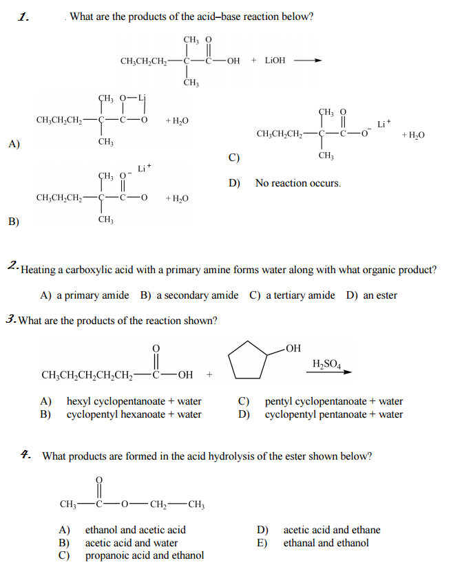 Solved: What Are The Products Of The Acid-base Reaction Be