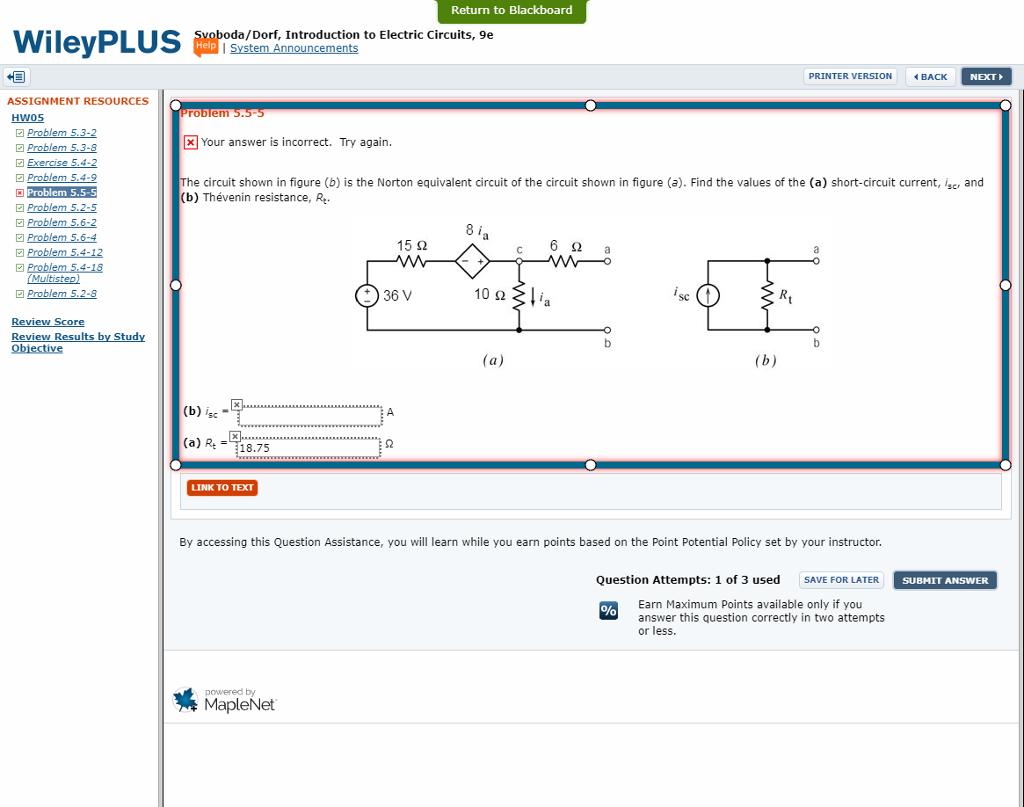 Return to Blackboard da/Dorf, Introduction to Electric Circuits, 9e Help  PRINTER VERSION