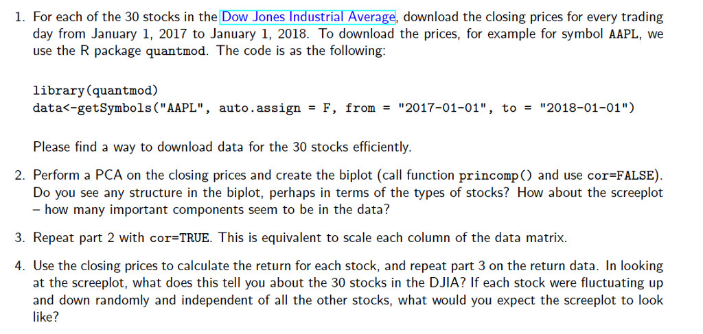 Solved: 1  For Each Of The 30 Stocks In The Dow Jones Indu