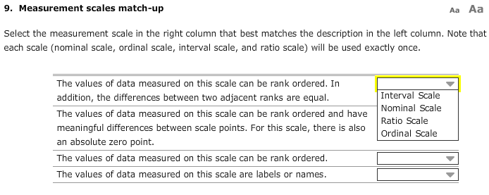 Solved: 9  Measurement Scales Match-up Aa Aa Select The Me