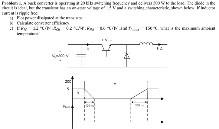 Solved: Problem 1  A Buck Converter Is Operating At 20 KHz