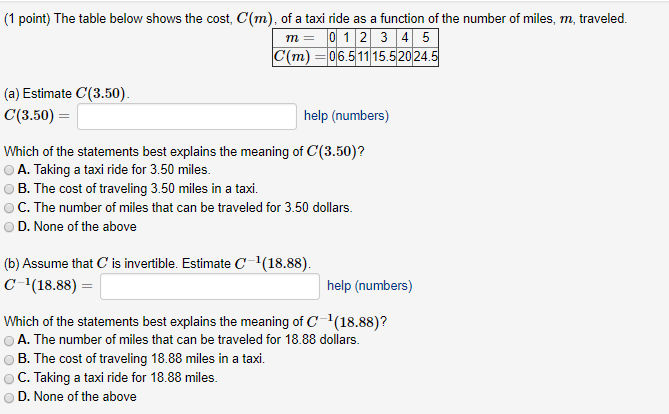 Solved: The Table Below Shows The Cost, C(m), Of A Taxi Ri