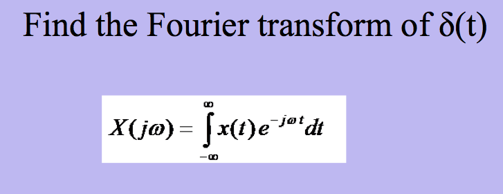 Find the Fourier transform of δ(t) jøt
