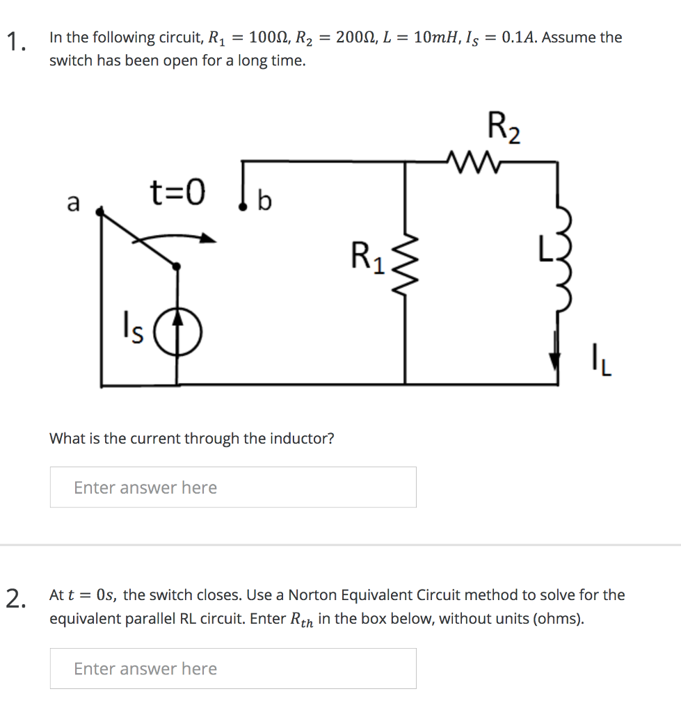 Solved 1 In The Following Circuit R 1000 R2 200q L Inductor Equivalent Of A Real