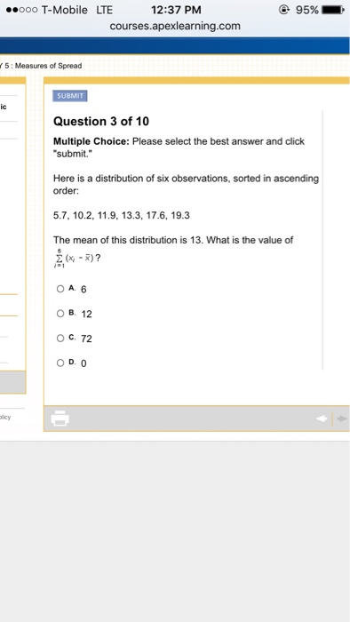 Algebra archive february 01 2016 chegg here is a distribution of six observations sorted fandeluxe Choice Image