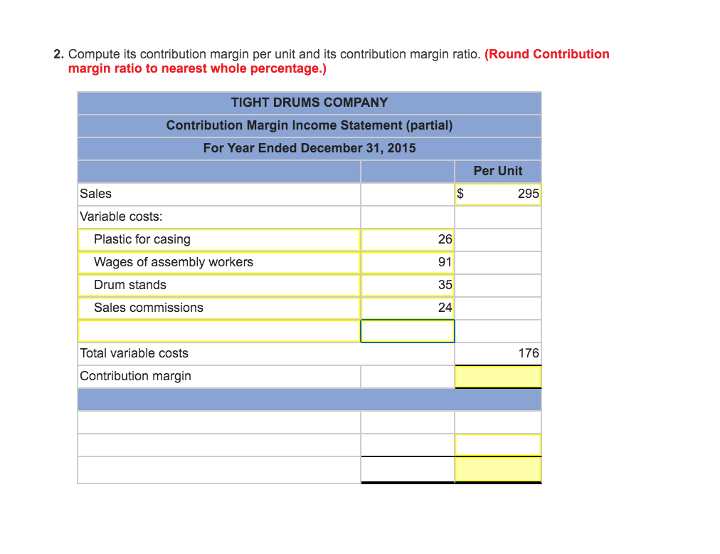 solved prepare a contribution margin income statement for