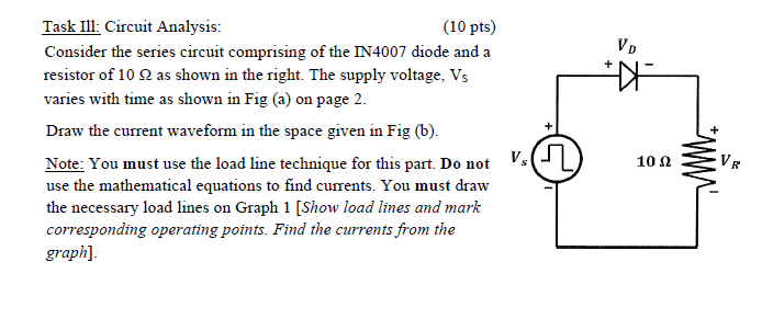 Solved 10 Pts Task Ill Circuit Analysis Consider The