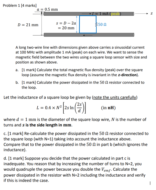 Solved: Problem 1 [4 Marks] D 21 Mm 50 ? 20 Mm A Long Two ...