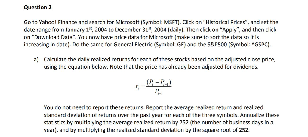 Question 2 Go To Yahoo! Finance And Search For Mic    | Chegg com