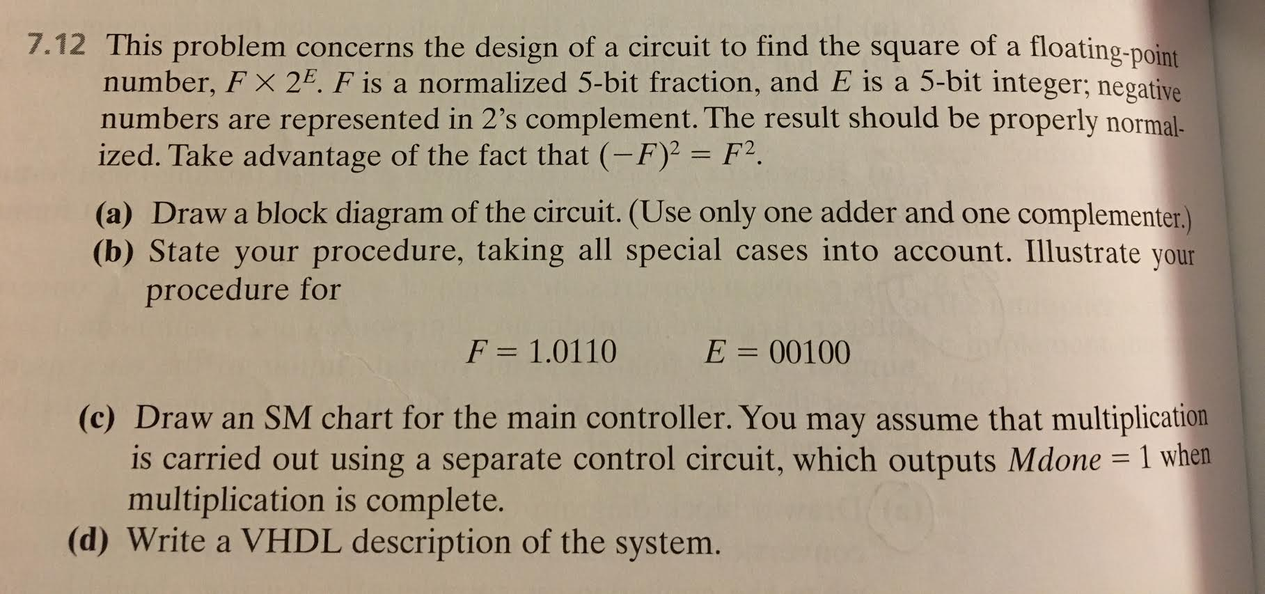 This Problem Concerns The Design Of A Circuit To F Wiring Diagram Is Used Troubleshoot Problems And Make Sure Question Find Square Floating Point Number Ti