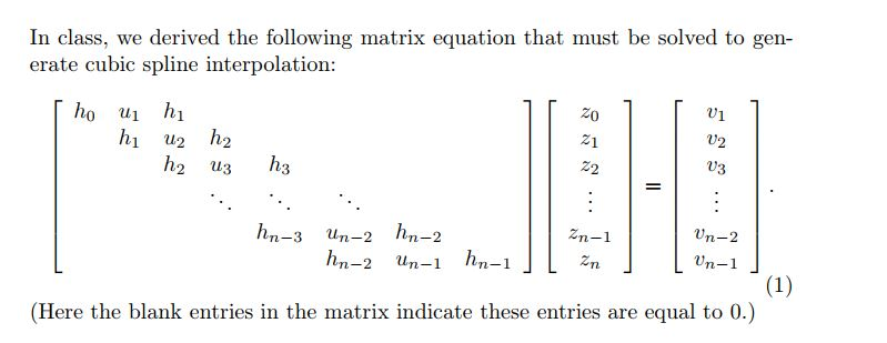 Solved: In Class, We Derived The Following Matrix Equation
