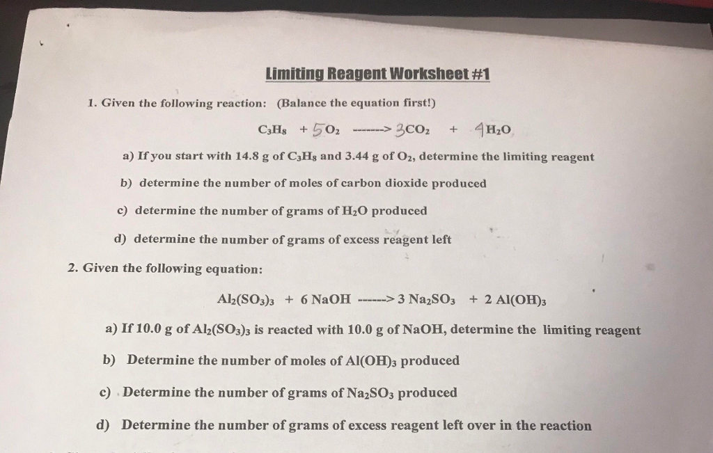 Solved: Limiting Reagent Worksheet #! 1. Given The Followi ...
