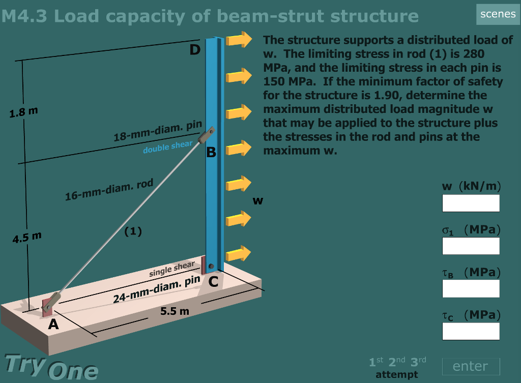 Solved: Load Capacity Of A Beam-strut Structure Solve For