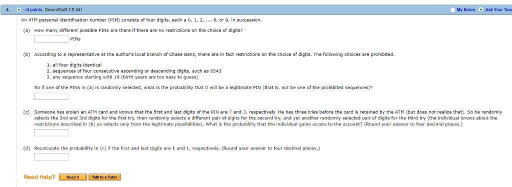 Solved: 4  -4 Points DevoreStat9 2 E 041 My Notes Ask Your