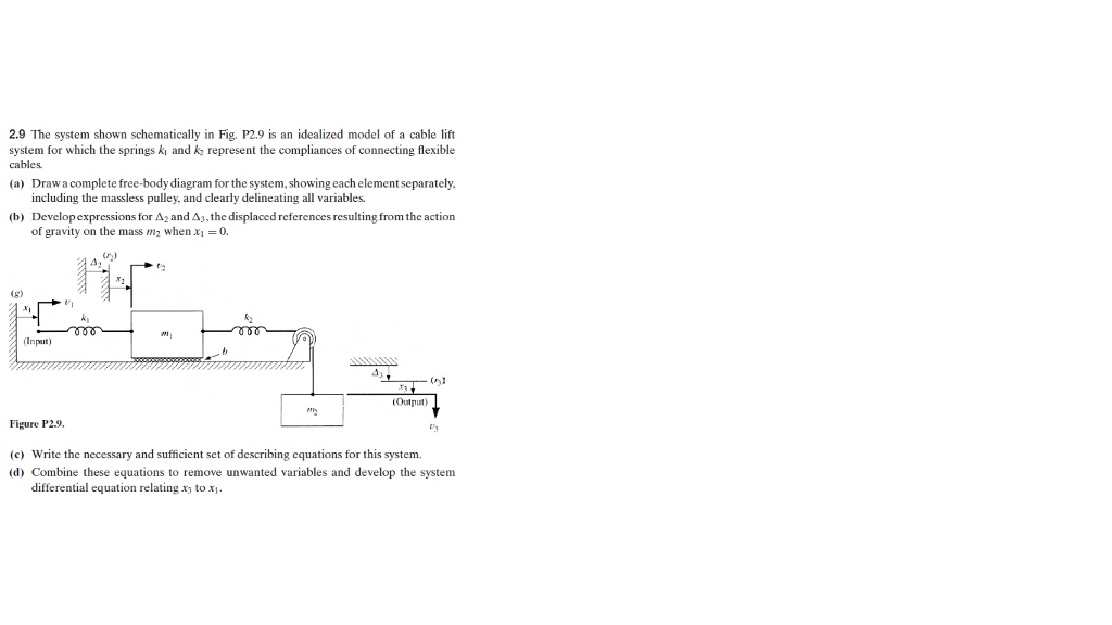 The System Shown Schematically In Fig. P2.9 Is An ...   Chegg.com on