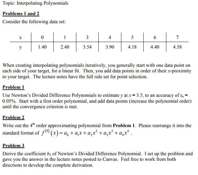 Topic: Interpolating Polynomials Problems 1 And 2