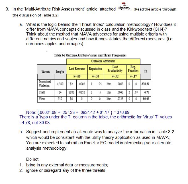 3  In The 'Multi-Attribute Risk Assessment' Articl    | Chegg com