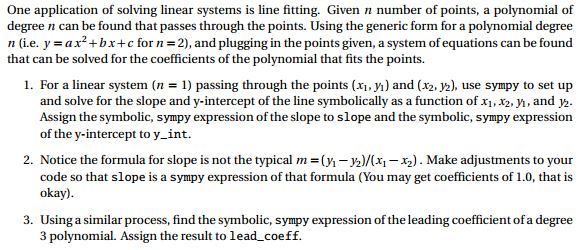 One Application Of Solving Linear Systems Is Line     | Chegg com