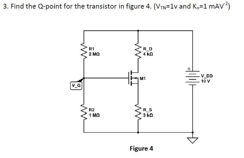 Find the Q-point for the transistor in figure 4. (