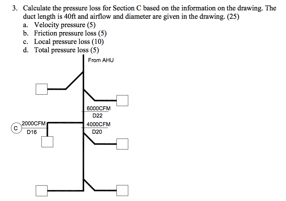 Calculate The Pressure Loss For Section C Based On