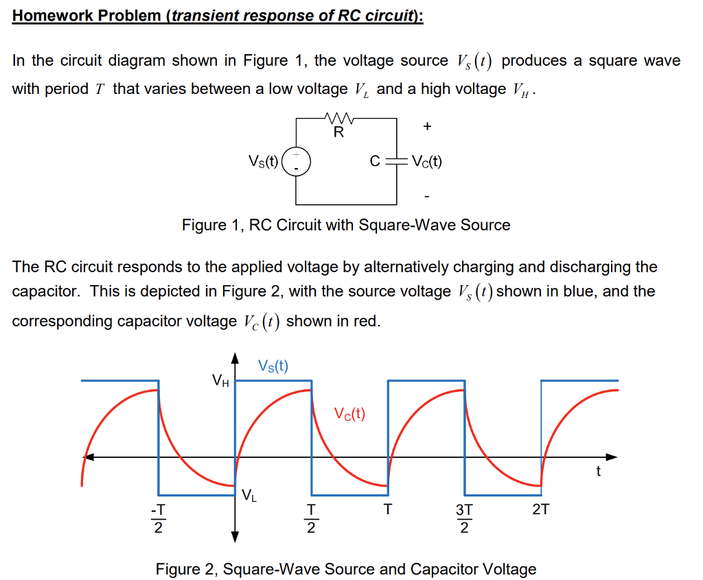 Solved Homework Problem Transient Response Of Rc Circuit Diagram Voltage Source In The Shown
