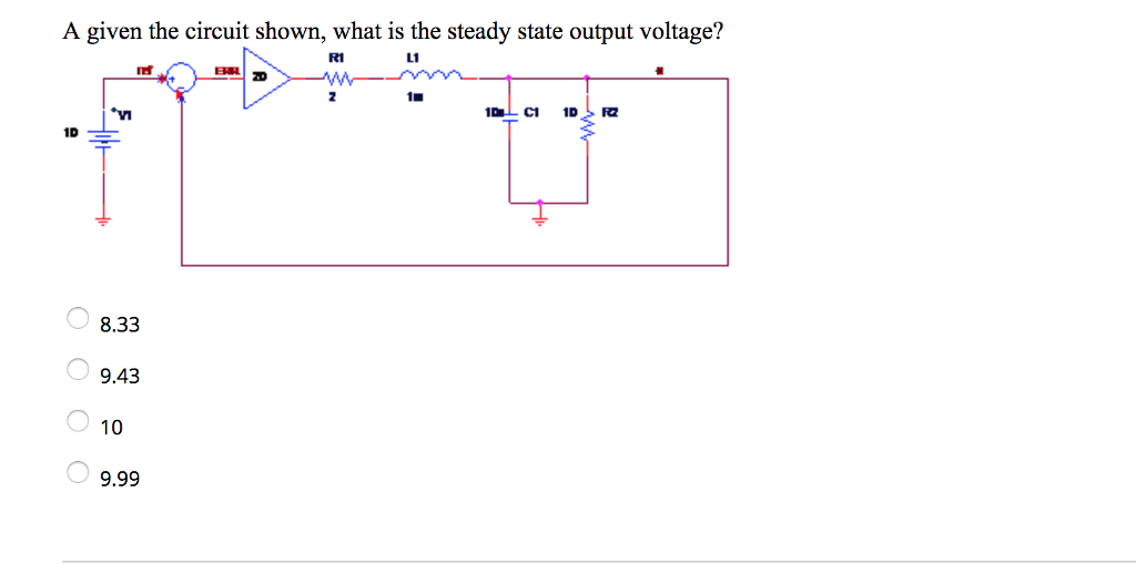 Electrical engineering archive november 01 2017 chegg a given the circuit shown what is the steady state output voltage ri l1 fandeluxe Image collections