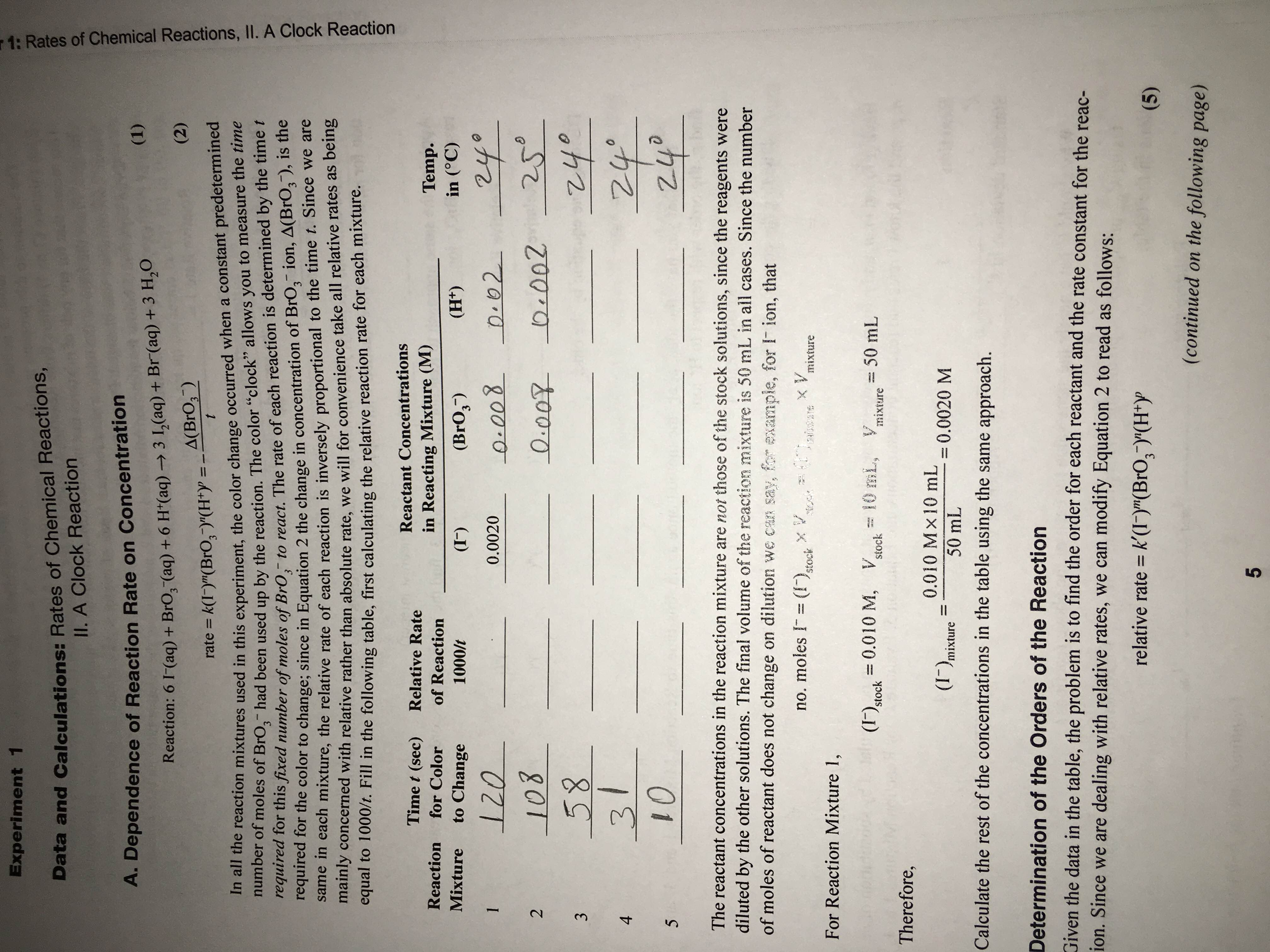 rates of chemical reactions ii 144 using graphs to determine rate laws, rate constants, and reaction  orders  given: balanced chemical equation, reaction times, and concentrations.