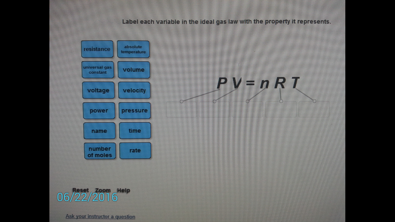 Solved: Label Each Variable In The Ideal Gas Law With The ...