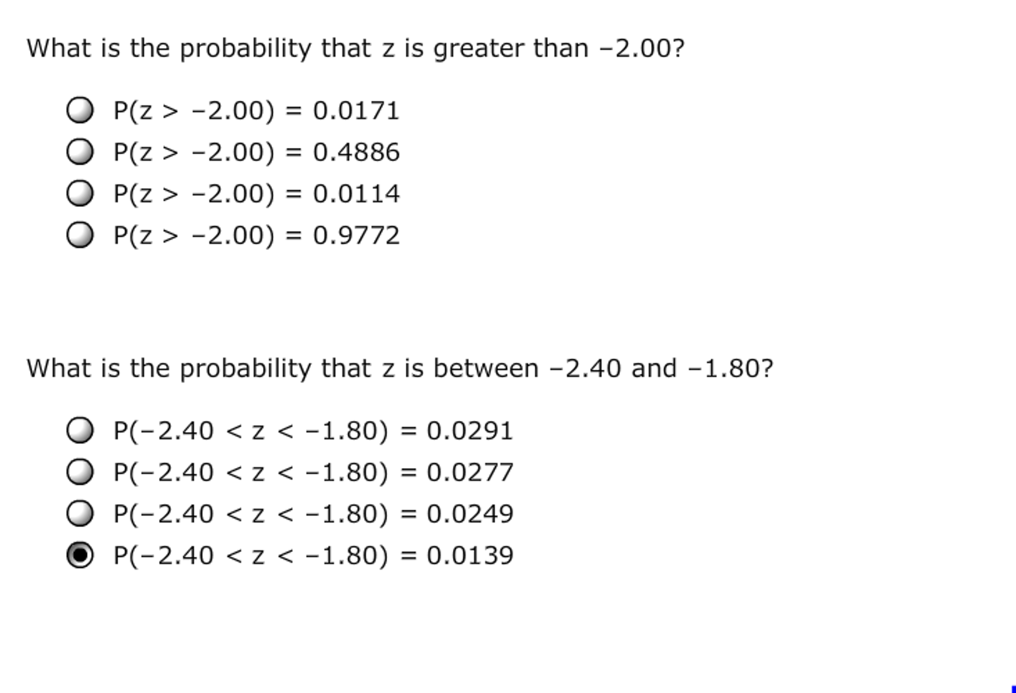 Statistics and probability archive november 06 2016 chegg 10 using probability tables finding standard normal probabilities aa aa consider the random variable z that follows a standard normal distribution fandeluxe Image collections