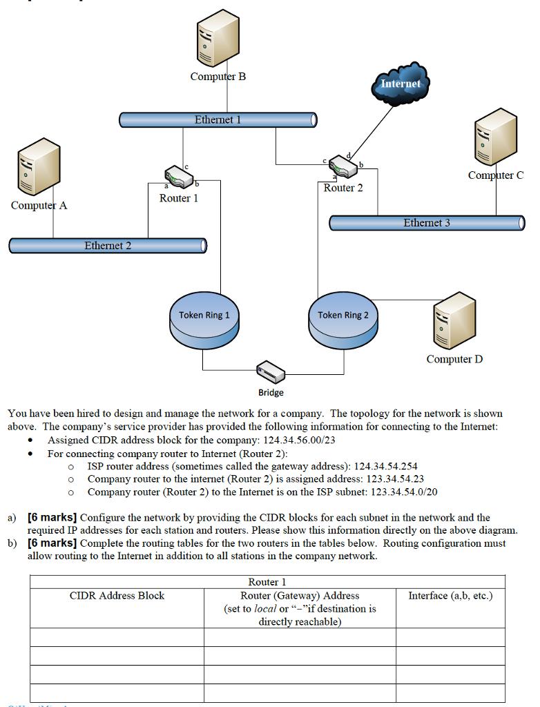 Computer LB Nternet Ethernet 1 C Router 2 A Ethernet3