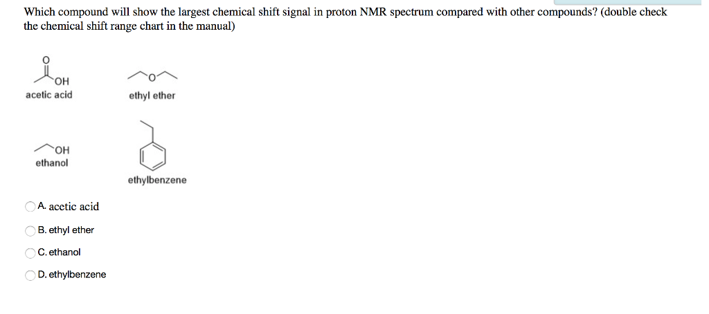 Solved Which Compound Will Show The Largest Chemical Shif