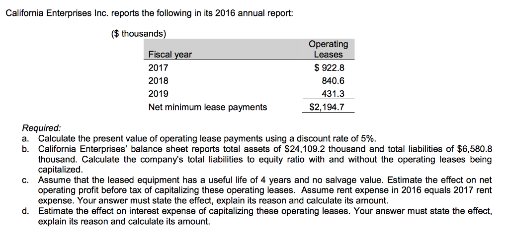 Estimate Lease Payment >> Solved California Enterprises Inc Reports The Following