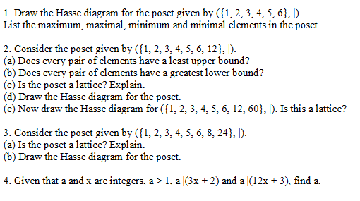 Solved draw the hasse diagram for the poset given by 1 draw the hasse diagram for the poset given by 1 ccuart Choice Image