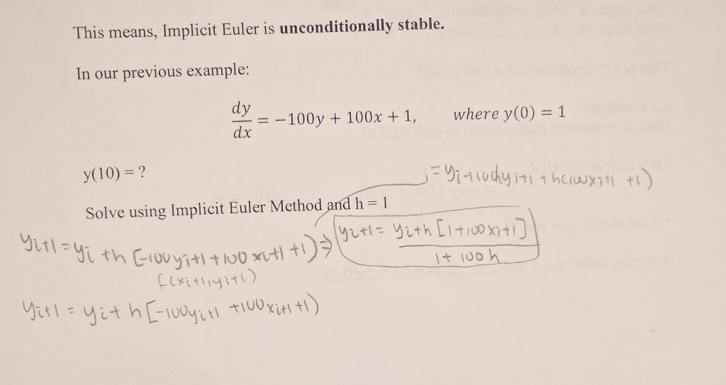 Solved: Can Someone Explain How To Do Implicit Euler's Met