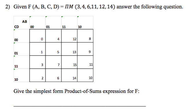 simplest form 12/14  Solved: Given F (A, B, C, D) = Pi M (9, 9, 9, 9, 9, 19 ...