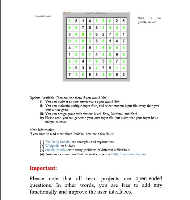 Solved: OPTION 1 Sudoku Solver Udo Sudoku Is A Popular Puz