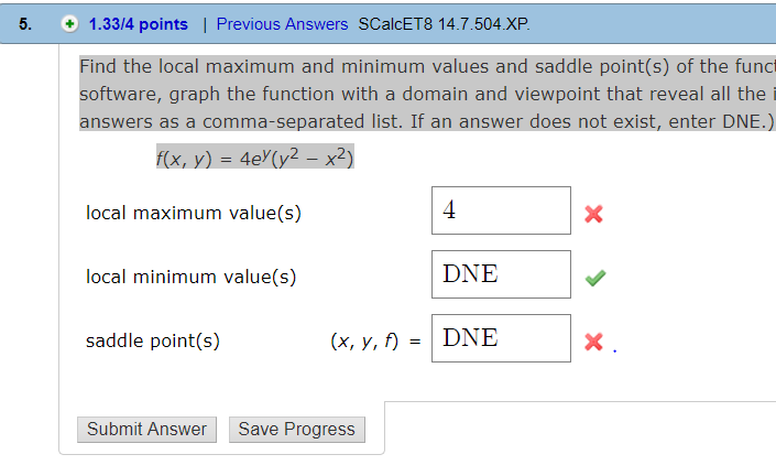 5ababf20de2 Solved  Find The Local Maximum And Minimum Values And Sadd ...