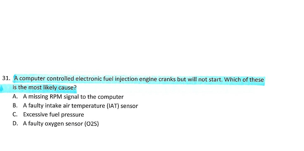 Solved: A Computer Controlled Electronic Fuel Injection En